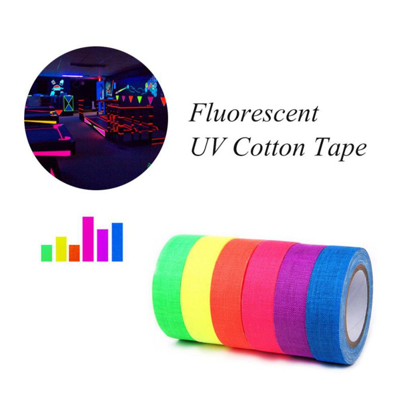 UV Blacklight Reactive Fluorescent Cloth Tape Glow In The Dark Neon Gaffer Tape 0.6in X 16ft Party Bar Decor