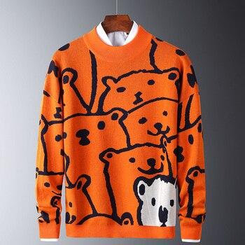 Mens Autumn Casual Sweaters Polar Bear Pattern Trendy Slim Sweaters Cotton Long Sleeve Round Collar Male Warm Pullovers Orange 1