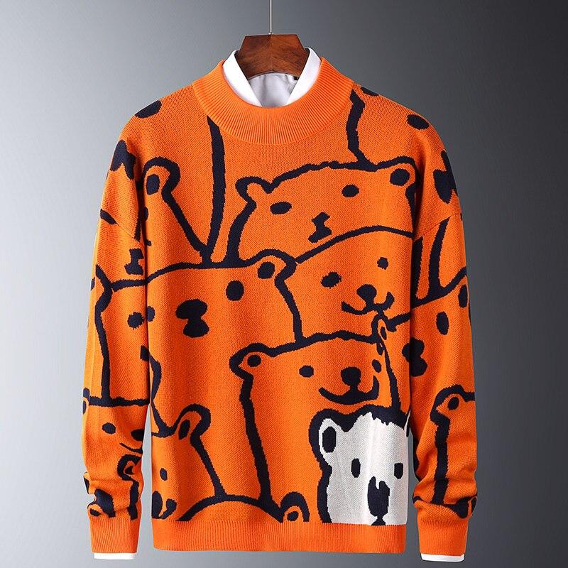 Mens Autumn Casual Sweaters Polar Bear Pattern Trendy Slim Sweaters Cotton Long Sleeve Round Collar Male Warm Pullovers Orange