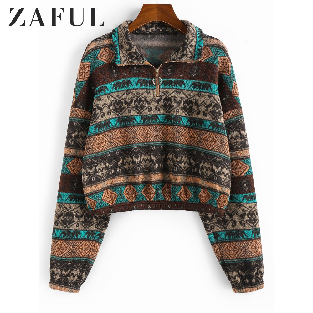 ZAFUL Women Ethnic Elephant Geo Print Drop Shoulder Quarter Zip Hoodie Hoodie Tribal Printing Winter Sweatshirts Female Pullover