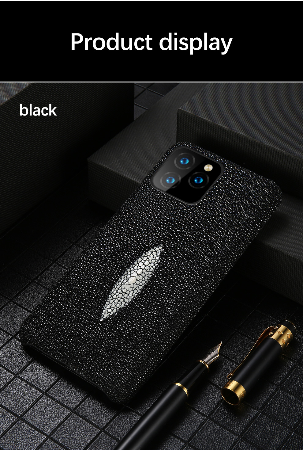 Genuine Leather case For Iphone 11 pro max Original Stingray leather back cover For iphone 11 case xr xs max 7 8 coque fundas