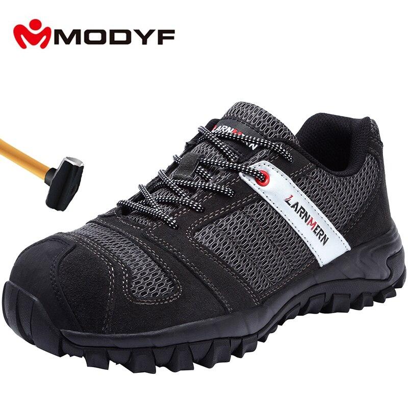 MODYF męskie buty ze stali Toe bezpieczeństwa pracy Lightwieght oddychające Anti smashing Anti przebicie antypoślizgowe budowy obuwie w Obuwie robocze i ochronne od Buty na  Grupa 1