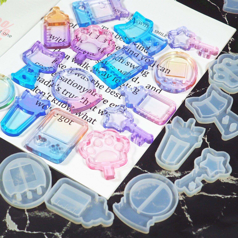 Nova chegada shaker moldes garrafa de leite resina uv cola epoxy molde varinha mágica seringa óleo artesanato ferramentas