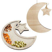 HAOLIVE Support customization Ramadan Eid Mubarak Handicraft Pendant Southeast Asian style wooden crafts cartoon moon snack tray