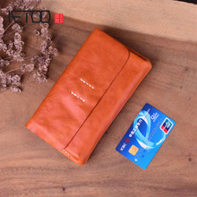 AETOO Retro clutch bag female leather handkerchief car sewing thread long wallet multi-layered large capacit