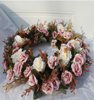 Hot sale Christmas decoration artificial garland flowers door wall wreath artificial  rose hanging ornaments  Free Shipping