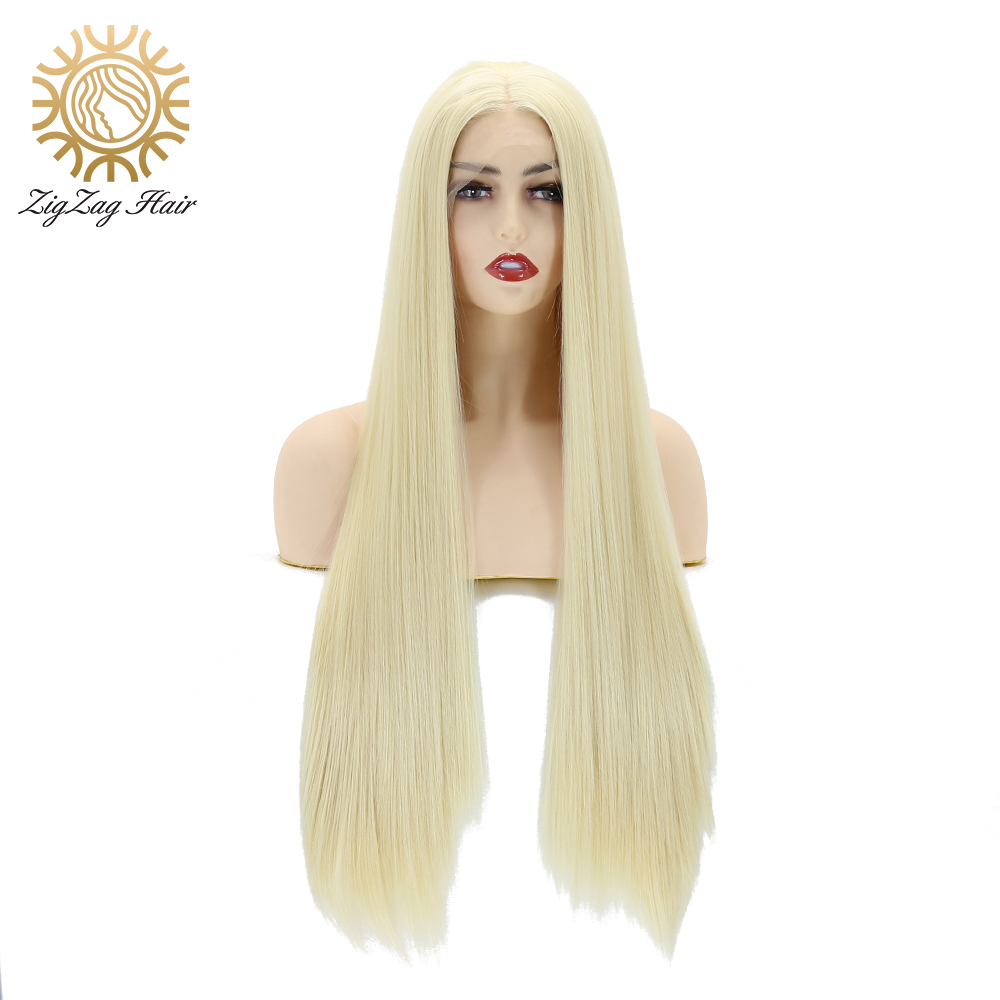 ZigZag Bleach Blonde #613 Synthetic Lace Front Wigs For Women Straight Hair Natural Hairline 13x3 Hand Tied Blonde Women Wig