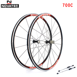 Novatec zestaw kół rowerowych 700C koła łożyskowane 7-11 prędkości V hamulec Clincher przedni tylny stop aluminium 16 20H zestawy kół rowerowych