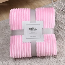 Plush Fleece Throw Blanket Striped Super Soft Flannel Blankets Solid Modern Line Winter Bed Linen Sofa Cover Bedspread Travel