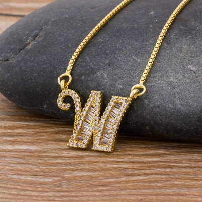 Luxury Gold Color A-Z 26 Letters Necklace CZ Pendant for Women Cute  Initials Name Necklace Fashion Party Wedding Jewelry Gift 19