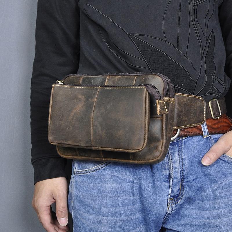 New Quality Leather Men Casual Fashion Travel Waist Belt Bag Chest Pack Sling Bag Design 8