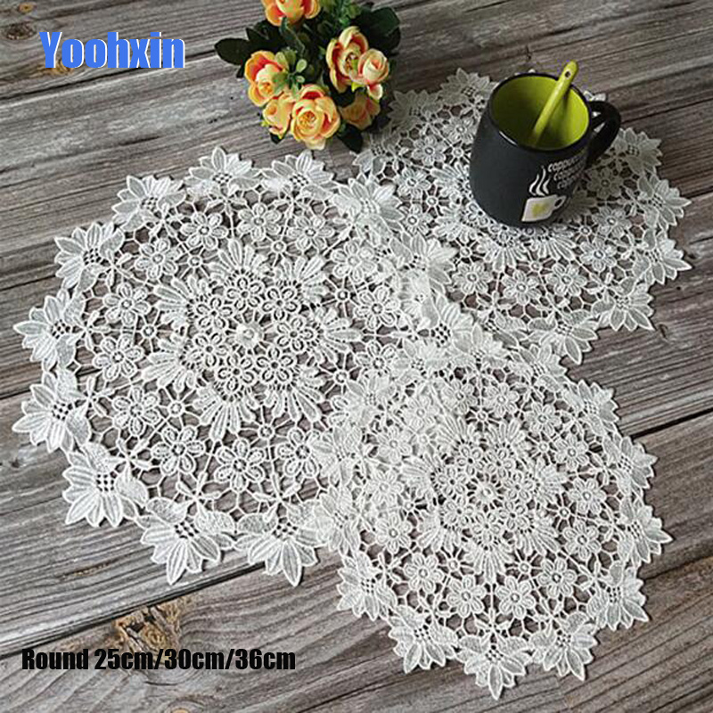 HOT white Lace Round Embroidery table place mat Christmas pad Cloth dish placemat cup mug dining tea coaster drink doily kitchen