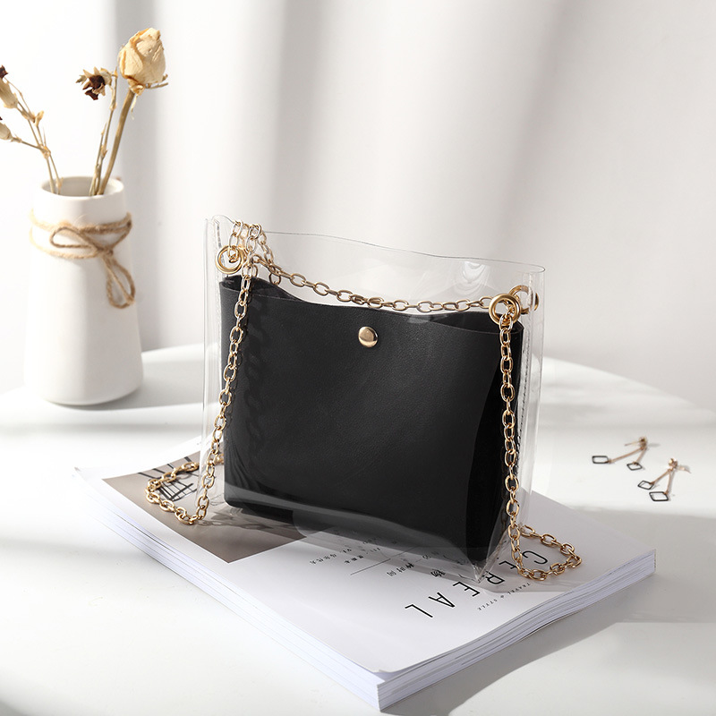 Women Transparent Bucket Bag Clear PVC Jelly Small Shoulder Bag Female Chain Crossbody Messenger Bags 2019 Design Luxury Handbag