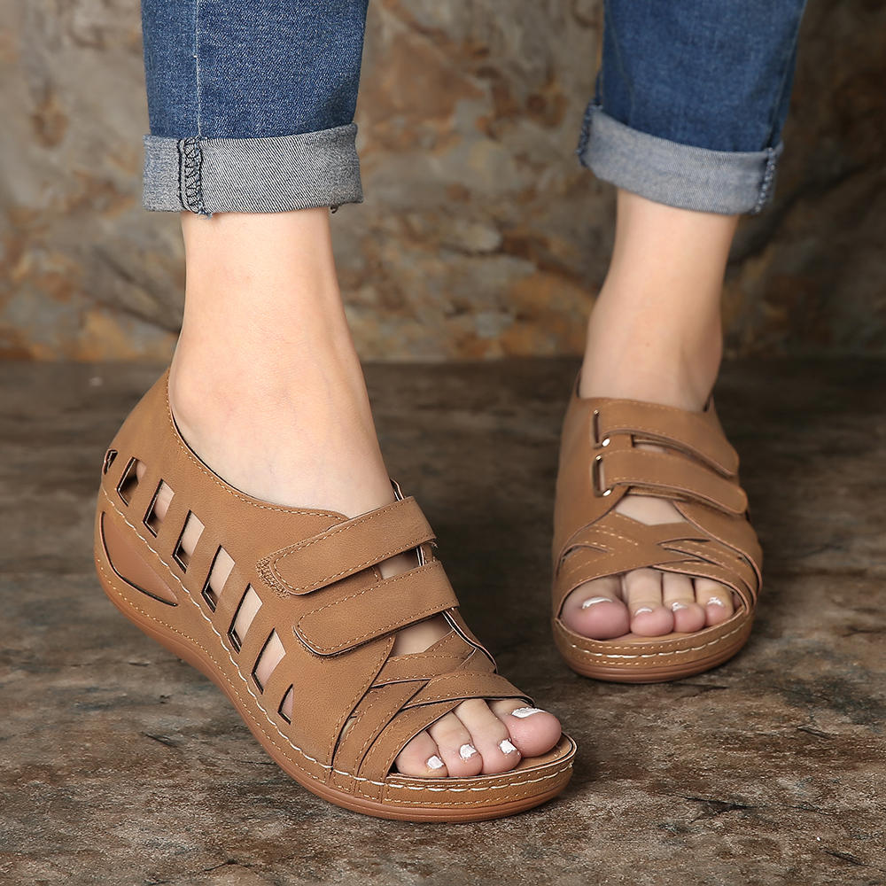 2020 New Retro  Women Sandals Lostisy Large Size Women Cross Belt BreathableSandals Ankle-Wrap Sandalia Feminina HOT