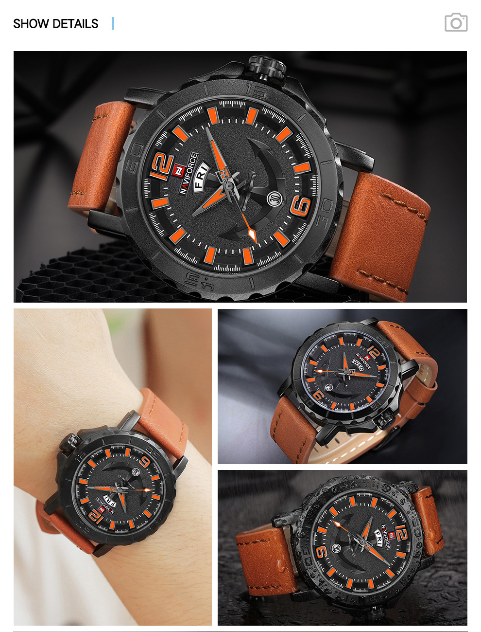 H4a9a838843ec45b5bfb35ac856d98cf5I Top Luxury Brand NAVIFORCE Mens Sport Watches Casual Leather Strap Waterproof Military Quartz WristWatch Clock Male Reloj Hombre