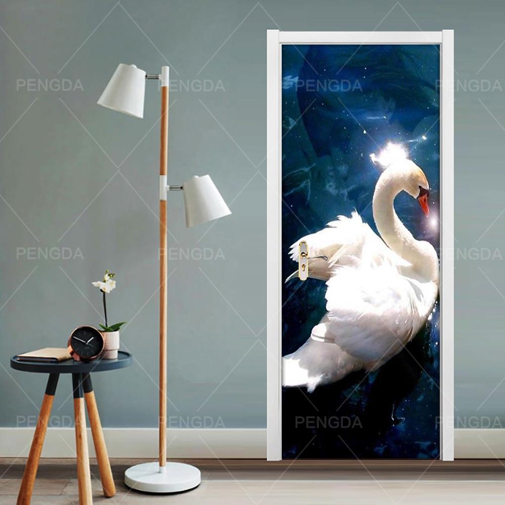 Swan Lake PVC Waterproof Art Home Decor Decal Door Animal Scenery 3D Print Sticker Self Adhesive Diy Paper for Bedroom Sticker Door Stickers     - title=