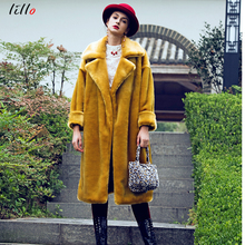 цены High quality winter faux fur 2019 elegant fashion coat new rex rabbit fur thick long warm jacket imitation fur solid color tempe