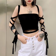 Gothic Black Mesh Lace Up Bandage Crop Top Fairy Grunge Aesthetic Clothes Cyber Y2k Mall Goth Tanks Sexy Clothing 2021