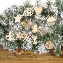 12 шт., рождественские снежинки, винтажные вечерние подвески, деревянные украшения, ангел, звезда, рождественская елка, украшения для дома