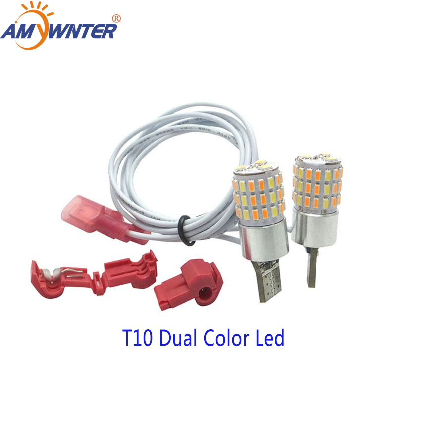 AMYWNTER Motorcycle led w5w 12V T10 Dual color LED W5W Daytime Running Turn Signal Light Bulb Car StylingSignal Lamp   -