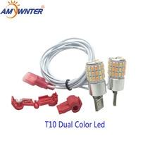Amywnter motocicleta led w5w 12 v t10 dupla cor led w5w daytime running turn signal lâmpada estilo do carro