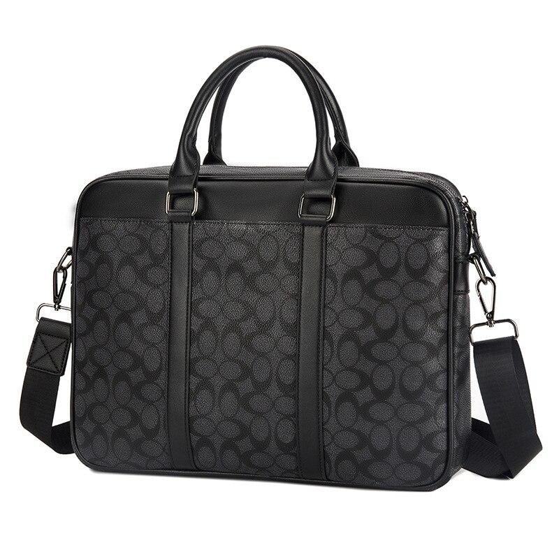 2019 New Pvc Plaid Men's Briefcase Classic Men's Bag Laptop Bag Shoulder Diagonal Package