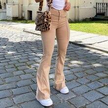 Kobieta wysokiej talii dżinsy dzwony Vintage Khaki Y2K spodnie dżinsowe Streetwear Harajuku Stretch Capris kobiece moda spodnie do biegania