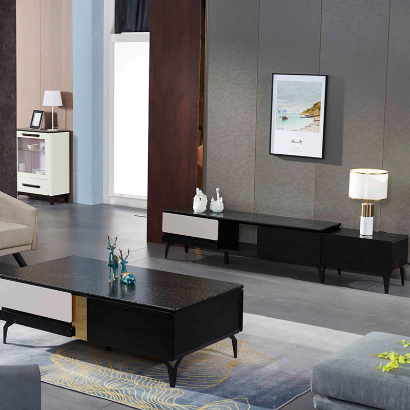 Post-modern Light Luxury Teapoy Table TV Cabinet Unit Living Room Stretching Audio Cabinet Set Modern Minimalist Cabinet