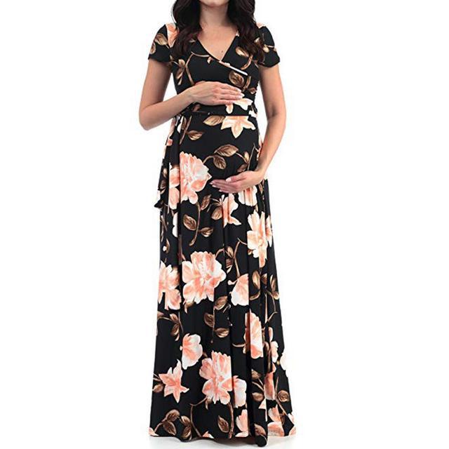 Women's Floral Short-sleeved Dress for Pregnancy 1