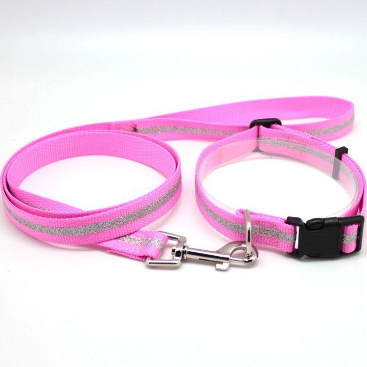 Pet Traction Rope Neck Ring Set Nylon Dog Rope Gold Powder Flash New Style Collar