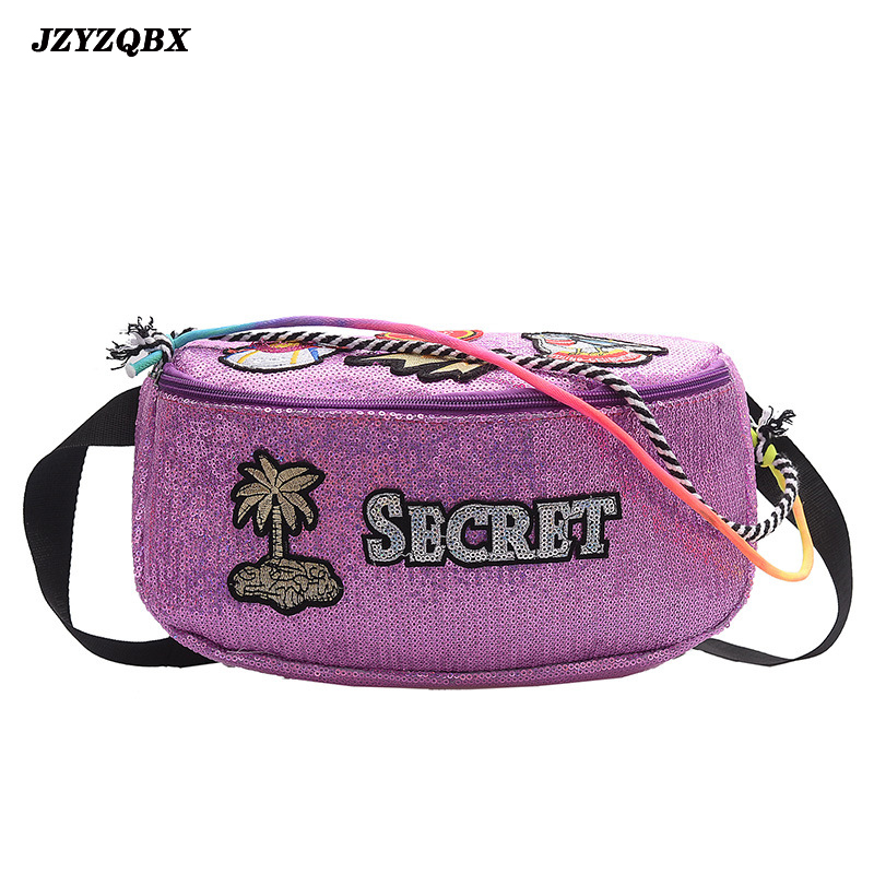 JZYZQBX Women's Waist Pack Sequins Waist Bag Banana Bag Large Capacity Chest Bag Waterproof PU Leather Fanny Pack Riñonera Mujer