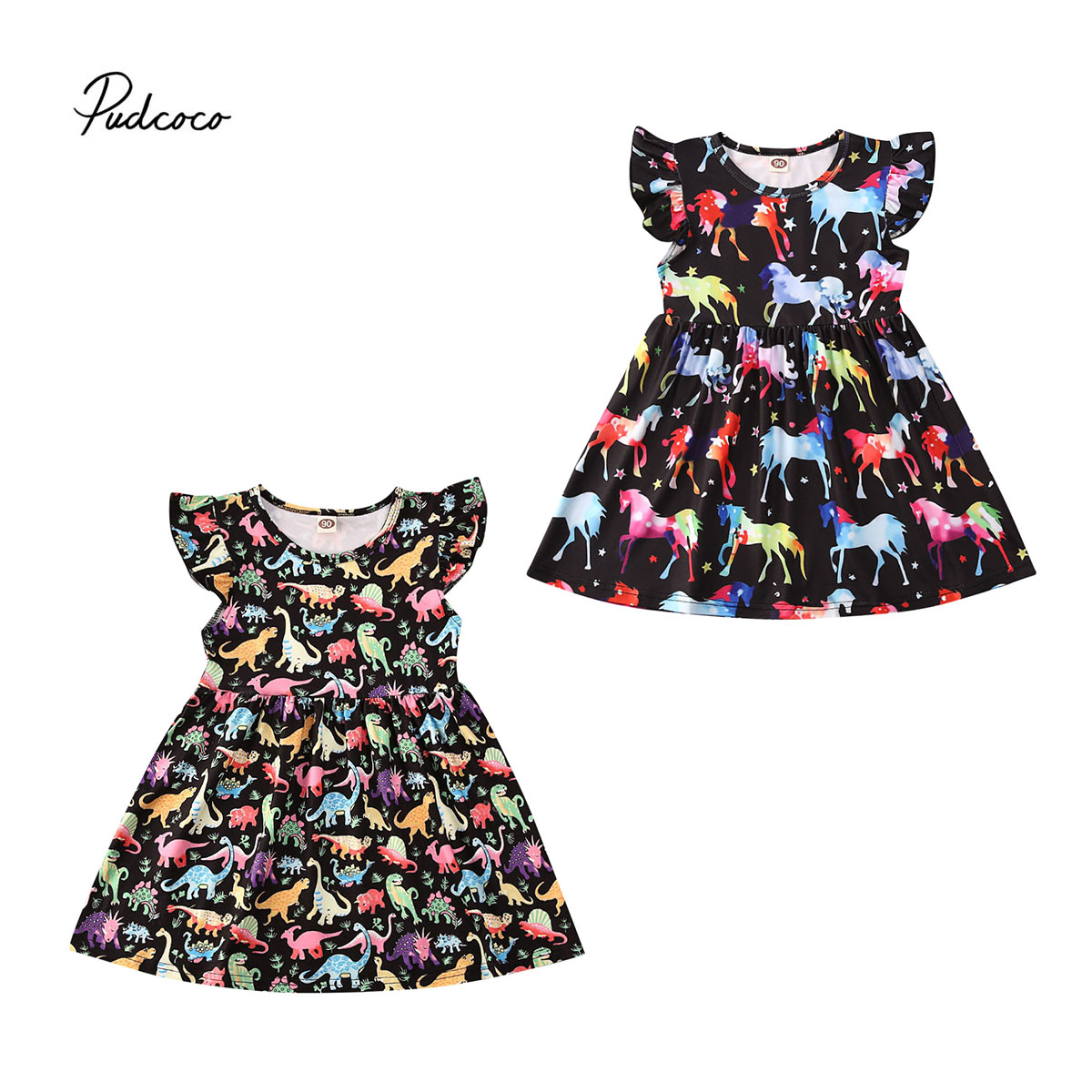 USA Toddler Kids Baby Unicorn Fly sleeve Party Pageant Dress Sundress Clothes