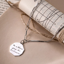 Fengxiaoling New Arrivals 925 Sterling Silver Circle Lettering Pendant Necklaces For Women Retro Style Asymmetry Long Necklaces