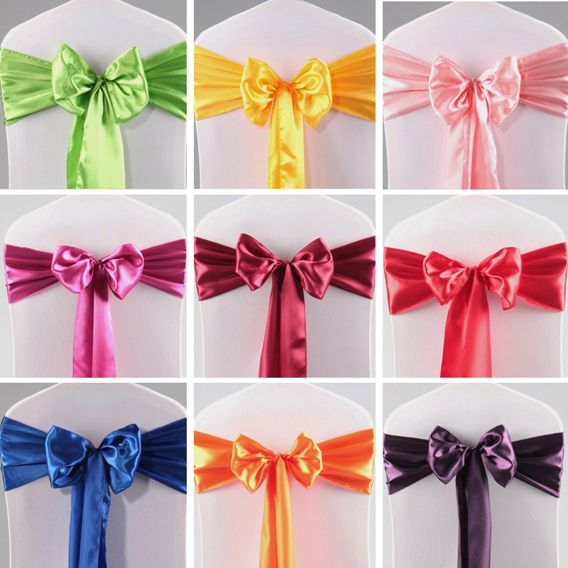 50pcs Chair Satin Bowknot Sash Ribbon Bow Bands Chair Sateen Sashes Belt Knot Ties For Wedding Party Metting Decoration Hot NEW