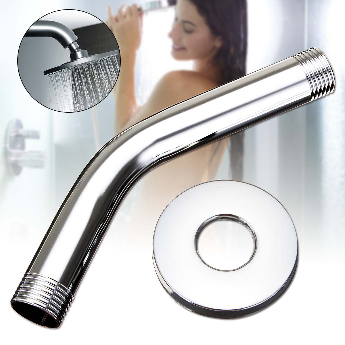 6'' Stainless Steel Chrome Shower Arm Wall Mount Shower Head Extension + Flange