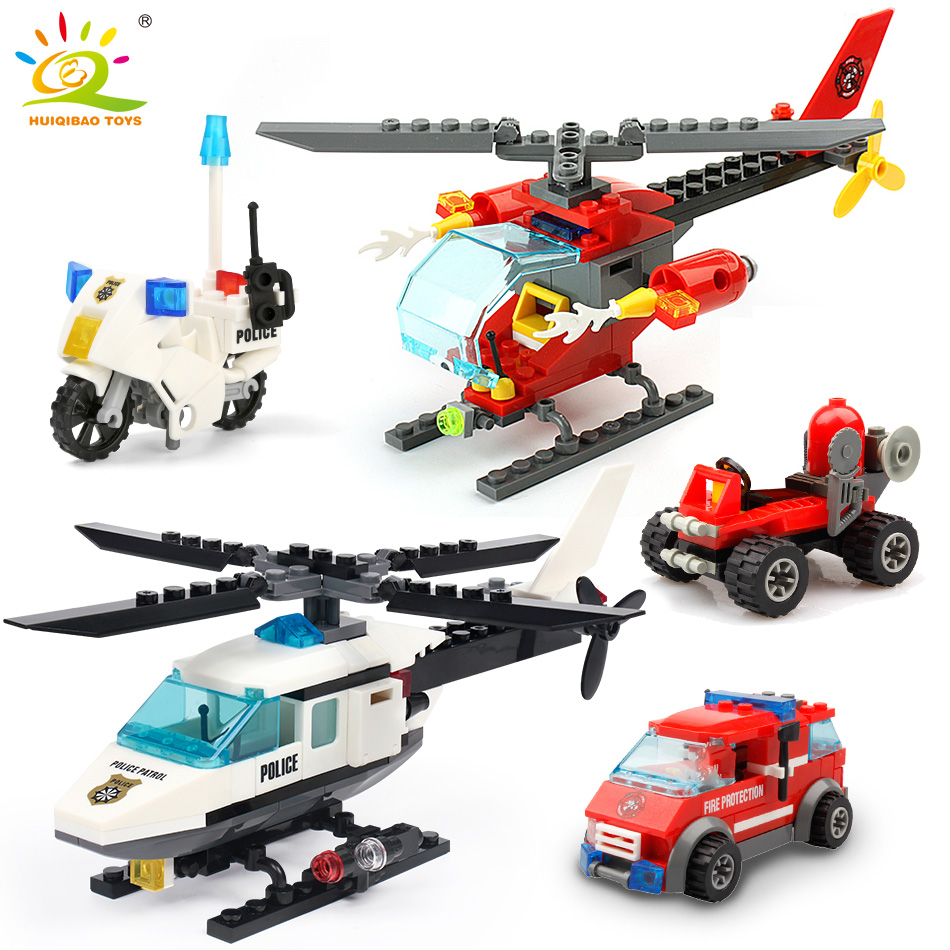 HUIQIBAO City Police Helicopter Airplane Blocks Building Blocks City MOTO Bricks Educational Toys Gift For Children give Figure