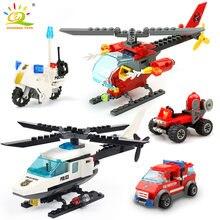 HUIQIBAO şehir polis helikopter uçak blokları yapı taşları şehir MOTO tuğla eğitici oyuncaklar çocuklar için hediye vermek şekil