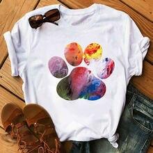 Новинка 2020 футболка с принтом собачьей лапы сердца Женская