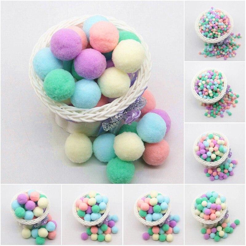 Mini Fluffy Pompom Mixed Color Soft Pom Pom Plush Balls 8 10 15 20 25 30mm Pompon For Wedding Home Decoration DIY Toys Craft 20g