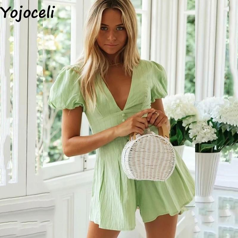 Yojoceli Elegant V Neck Cotton Green Summer Playsuit Women Beach Casual Short Jumpsuit Romper Cool Daily Overalls Female