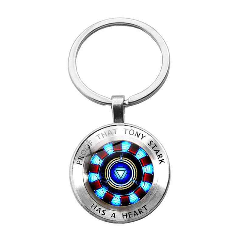 The Avengers 4 Endgame Iron Man Keychain Tony Stark Heart Glass Cabochon Key Chain for Movie Fans Car Keyring Pendant Jewelry