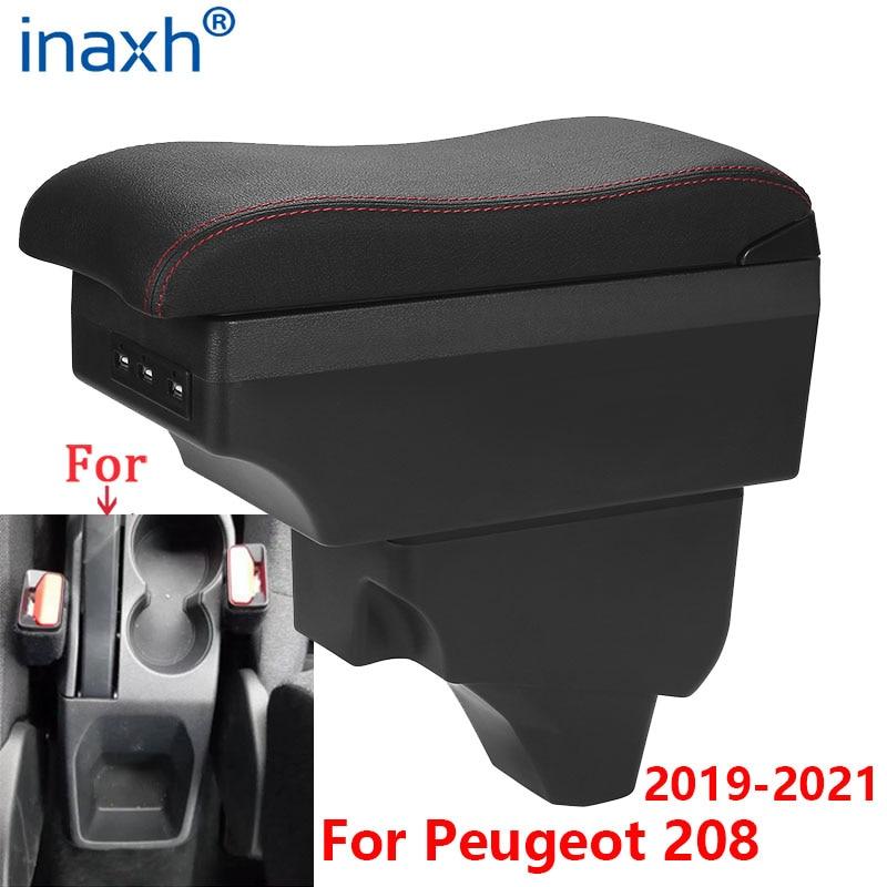 Para Peugeot 208 reposabrazos para Peugeot 2008 compartimento de reposabrazos para coche 2019, 2020 de 2021 Retrofit partes Interior caja de almacenamiento, accesorios LED USB
