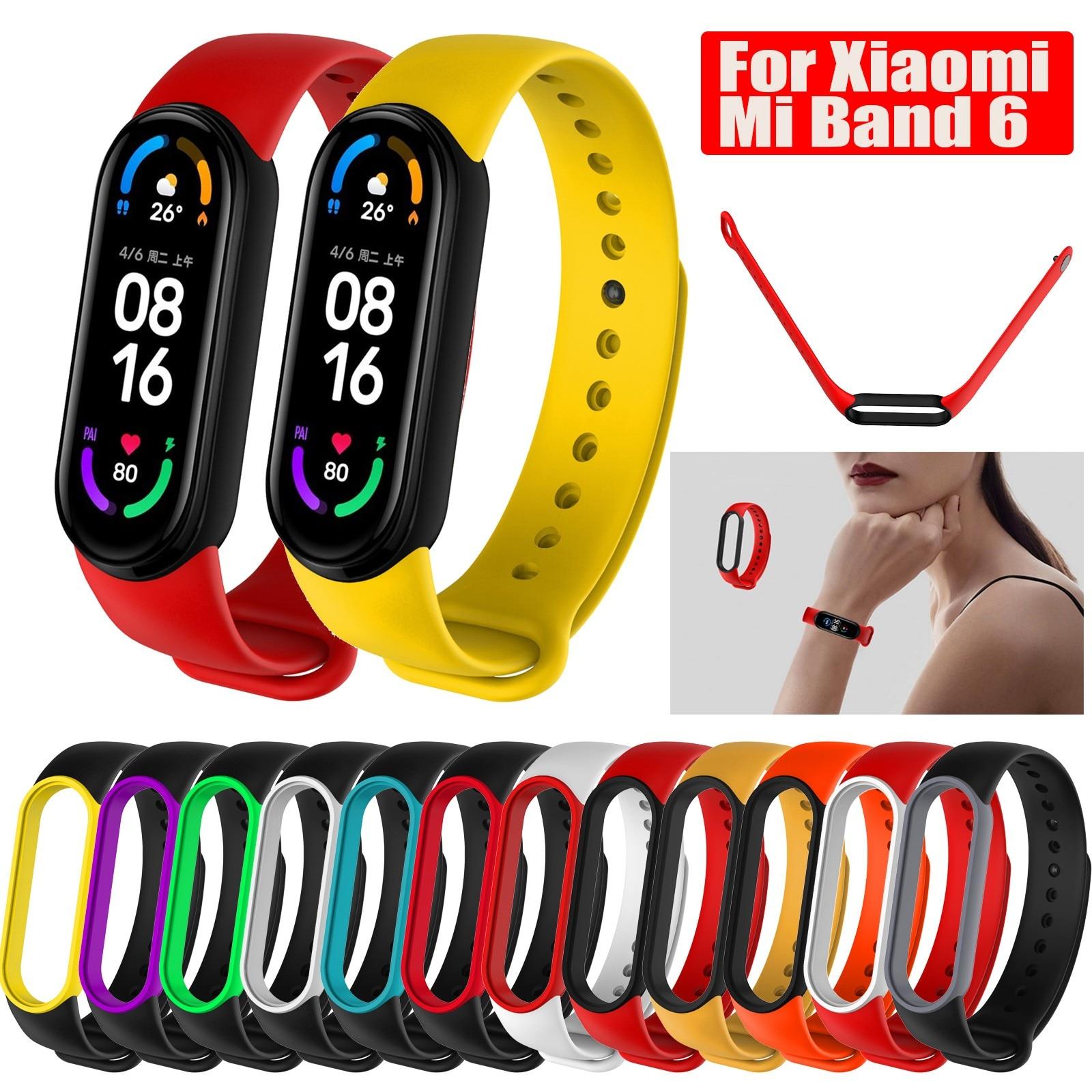 Pulseira de silicone para xiaomi mi banda 6 pulseira de relógio xiao mi xaomi xioami miband6 band6 silicone gel pulseira de montre