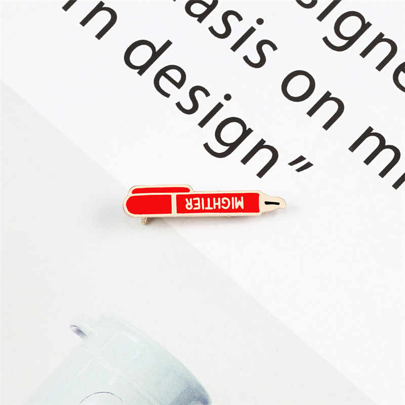 2 Color pluma solapa esmalte alfileres insignia Pin broche más poderoso bolígrafos de dibujos animados de moda broches insignia de mezclilla accesorios de la joyería de regalo pareja