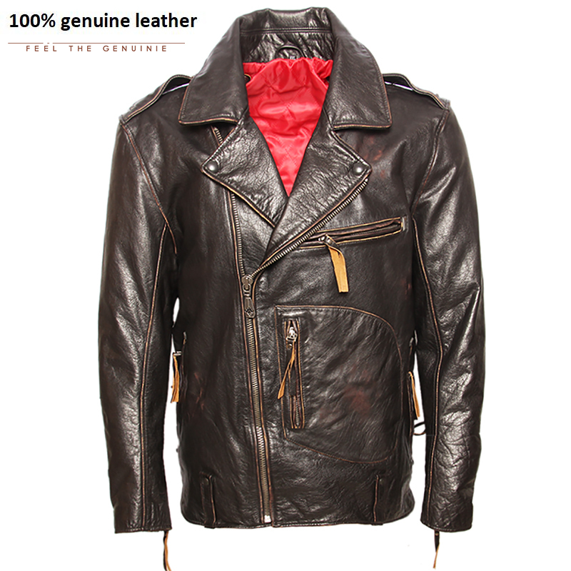 Vintage Original Pilot Leather Jacket Men Genuine Cow Motorcycle Male Vintage Jacket Red Brown Motor Biker Coat M105