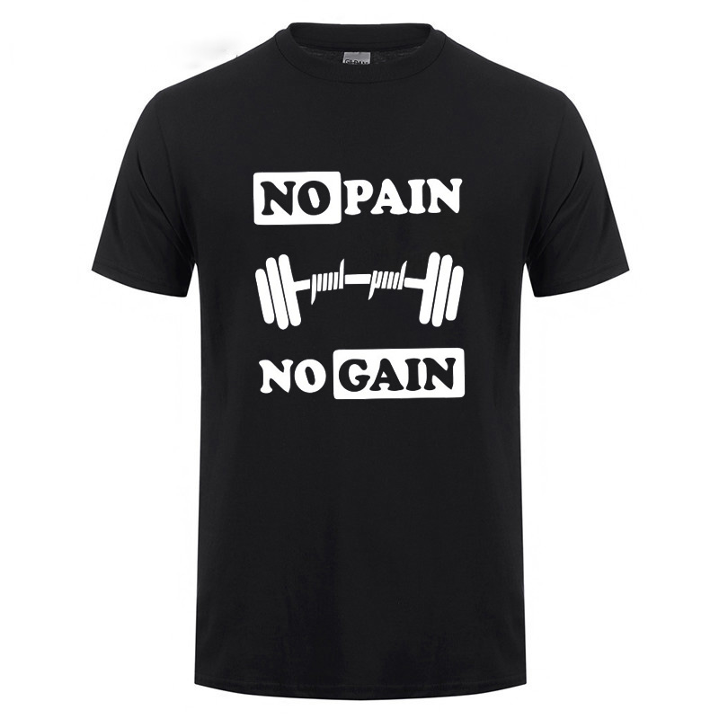 No Pain No Gain Printed T Shirt For Men Summer Bodybuilding And Fitness Short Sleeve T-Shirt Gyms Clothing Crossfit Tops Tee