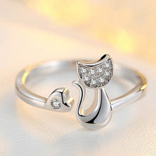 Adjustable Rings Unique Design Cute Fashion Jewelry Silver Rose Gold Cat Ring For Women Girl charms Ring jewelry(China)