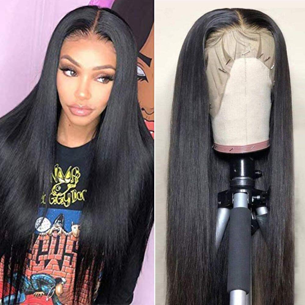 Frontal-Wigs Human-Hair-Wigs Hairline Straight-Hair Lace Luxediva Pre-Plucked Brazilian