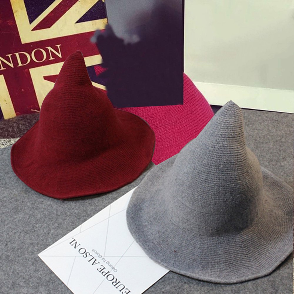 Fashion Wool Peaked Wizard Hat Women Solid Color Personality Hip Hop Cosplay Party Halloween Witch Hat