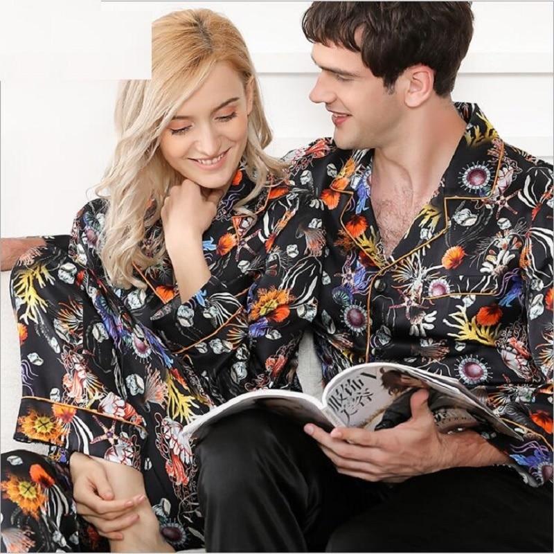 Mens  Pajamas Sets 100% Silk Stain Floral Homewears  Spring 2020 Man Pure Silk Sleepwear Homewear  Pyjamas Sets Long Sleeve 2xl